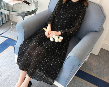 Κομψό γυναικείο μακρύ φόρεμα με μακρύ μανίκι φαρδύ μοντέλο για έγκυες γυναίκες