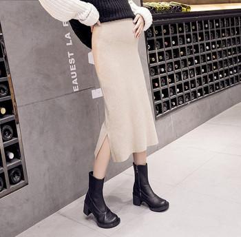 Κομψή γυναικεία φούστα ίσιο μοντέλο με σχισμή για έγκυες γυναίκες