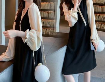 Κομψό φόρεμα ίσιο μοντέλο με μακριά μανίκια για έγκυες γυναίκες