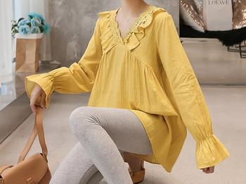 Κομψή γυναικεία μπλούζα με μακριά μανίκια για έγκυες γυναίκες