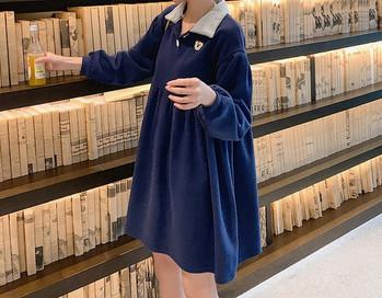 Casual κοντό γυναικείο φόρεμα με μακριά μανίκια για έγκυες γυναίκες