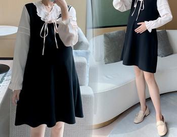 Κομψό κοντό φόρεμα με κορδόνια και μακριά μανίκια για έγκυες γυναίκες