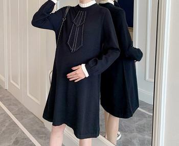 Κομψό γυναικείο κοντό φόρεμα με μακριά μανίκια για έγκυες γυναίκες