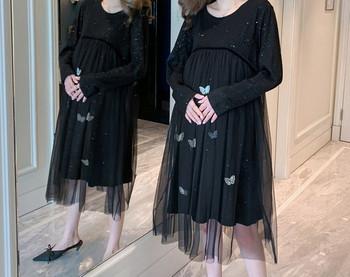 Κομψό γυναικείο φόρεμα με τούλι και μακριά μανίκια για έγκυες γυναίκες