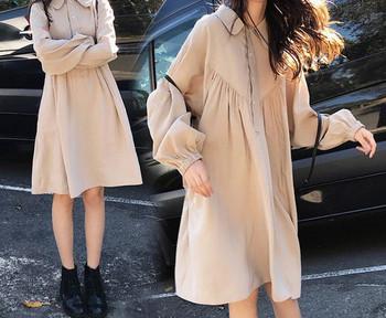 Γυναικείο casual κοντό φόρεμα με κουμπιά και μακριά μανίκια για έγκυες γυναίκες