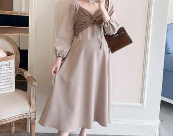 Κομψό γυναικείο φόρεμα μακρύ μοντέλο με κορδόνια για έγκυες γυναίκες