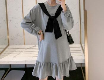 Γυναικείο κοντό φόρεμα με μακριά μανίκια για έγκυες γυναίκες