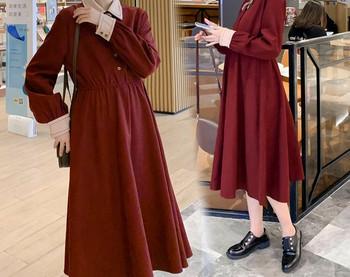 Casual γυναικείο φόρεμα με κουμπιά και μακριά μανίκια για έγκυες γυναίκες