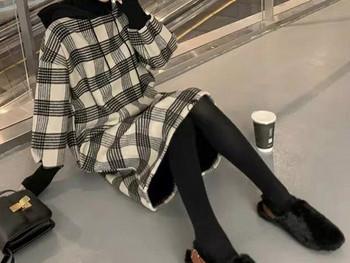 Γυναικείο μακρύ καρό φόρεμα με μακριά μανίκια για έγκυες γυναίκες