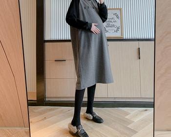 Γυναικείο μακρύ φόρεμα με οβάλ λαιμόκοψη για έγκυες γυναίκες