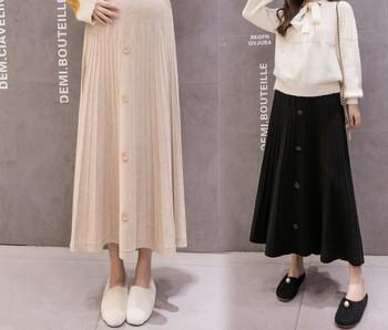 Μοντέρνα γυναικεία μακρυά φούστα με κουμπιά για έγκυες γυναίκες