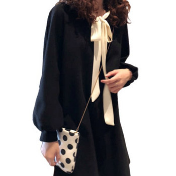 Μοντέρνο γυναικείο απλό φόρεμα με μακριά μανίκια για έγκυες γυναίκες