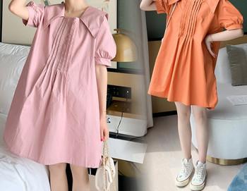 Κομψό γυναικείο φόρεμα με λαιμόκοψη για εγκύους