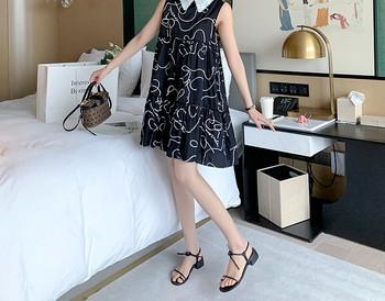 Κομψό κοντό φαρδύ φόρεμα με σχέδιο για έγκυες γυναίκες