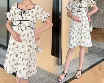 Γυναικείο κοντό φόρεμα με λουλουδάτο μοτίβο για έγκυες γυναίκες