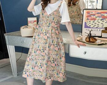 Casual γυναικείο φόρεμα με λουλουδάτο μοτίβο και κοντά μανίκια για έγκυες γυναίκες