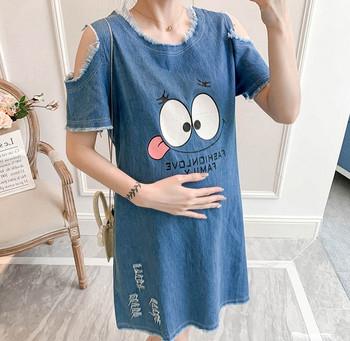 Μοντέρνο γυναικείο τζιν φόρεμα με μανίκια  για εγκύους