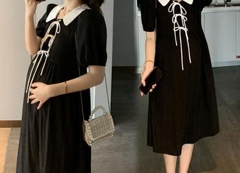 Γυναικείο φόρεμα με κορδόνι - φαρδύ μοντέλο για έγκυες γυναίκες
