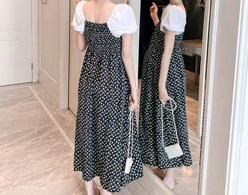 Κομψό γυναικείο μακρύ πουά φόρεμα για έγκυες γυναίκες