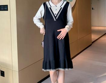 Μοντέρνο γυναικείο φόρεμα με κουμπιά και μακριά μανίκια για έγκυες γυναίκες