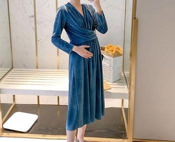 Γυναικείο μακρύ φόρεμα κλασικό μοντέλο για έγκυες γυναίκες