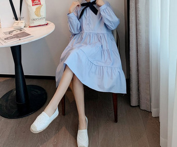 Μοντέρνο γυναικείο κοντό φόρεμα με μακριά μανίκια για έγκυες γυναίκες
