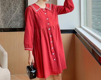 Γυναικείο κοντό φόρεμα με κουμπιά και μακριά μανίκια για έγκυες γυναίκες
