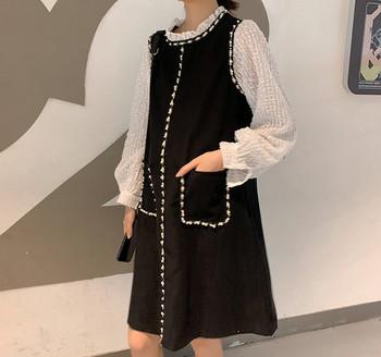 Μοντέρνο γυναικείο φόρεμα ευθεία μοντέλο με τσέπες για έγκυες γυναίκες