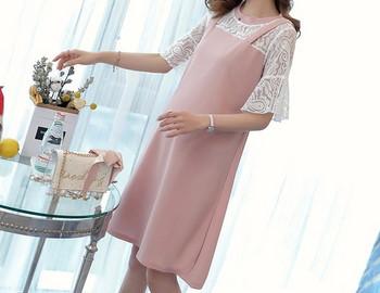 Κομψό γυναικείο φόρεμα με κορδόνια και οβάλ λαιμόκοψη για εγκύους