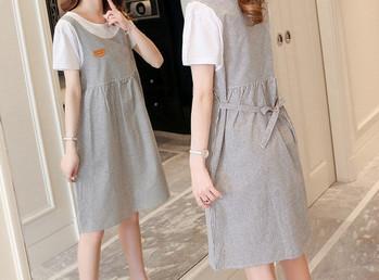 Μοντέρνο γυναικείο φόρεμα με οβάλ λαιμόκοψη  δύο μοντέλα για εγκύους