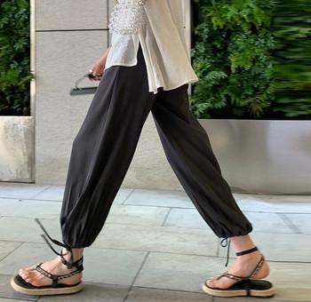 Γυναικείο μακρύ παντελόνι με κορδόνια για έγκυες γυναίκες