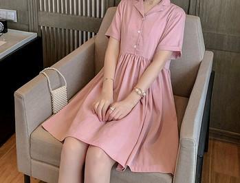 Casual κοντό γυναικείο φόρεμα με κουμπιά για έγκυες γυναίκες
