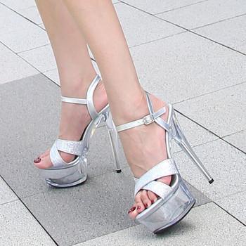 Стилни дамски сандали с камъни и висок ток - 15см