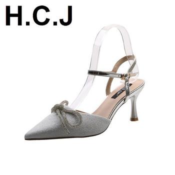 Дамски сандали с панделка и тънък ток