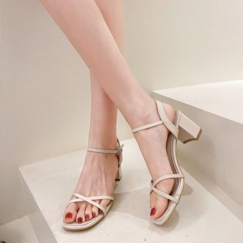 Дамски сандали с кожена каишка в три цвята
