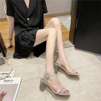 Дамски сандали с дебел ток и камъни в три цвята