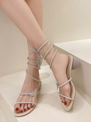 Дамски сандали с камъни и перли в бежов цвят