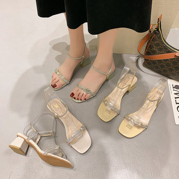 Дамски сандали с дебел ток и камъни в два цвята