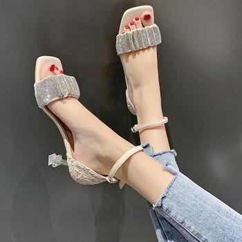 Дамски сандали с камъни и прозрачен ток в три цвята