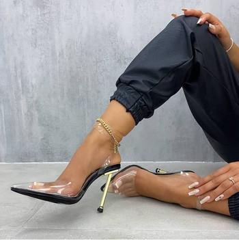 Дамски сандали със силиконова каишка в два цвята
