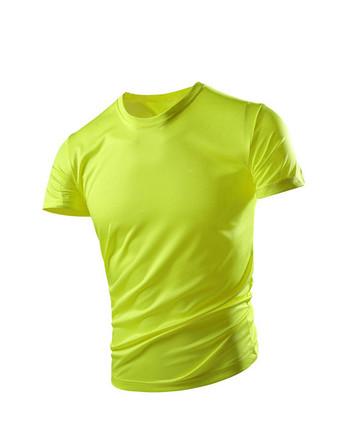 Нов модел мъжка тениска с обло деколте и щампа -бързо съхнеща материя