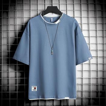 Ανδρικό μπλουζάκι με καλοκαιρινό μοντέλο με οβάλ λαιμόκοψη και κοντά μανίκια