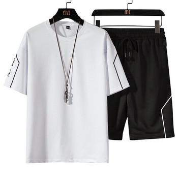 Нов модел мъжки спортен екип от две части къс панталон и тениска с овално деколте