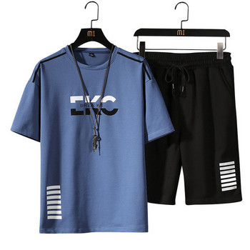 Летен спортен костюм от две части тениска с обло деколте и къси панталони