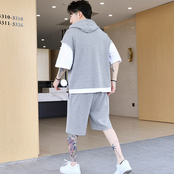 Мъжки ежедневен комплект от тениска и къс панталон