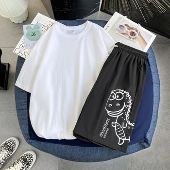 Летен комплект от тениска и шорти с апликация