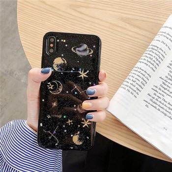 Силиконов калъф за iPhone X/XS с лъскави частици