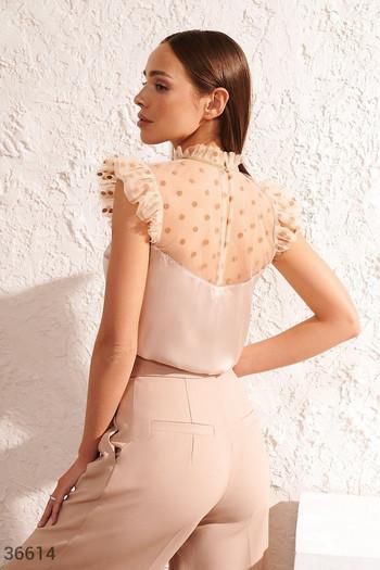 Блуза от коприна с волани