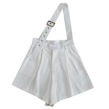 Нов модел къси дамски панталони с висока талия в бял и черен цвят