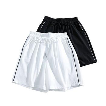 Дамски ежедневни къси панталони с кант и връзки
